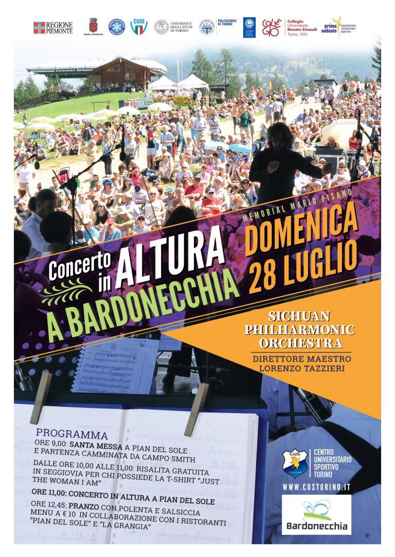 Locandina concerto in altura a Bardonecchia